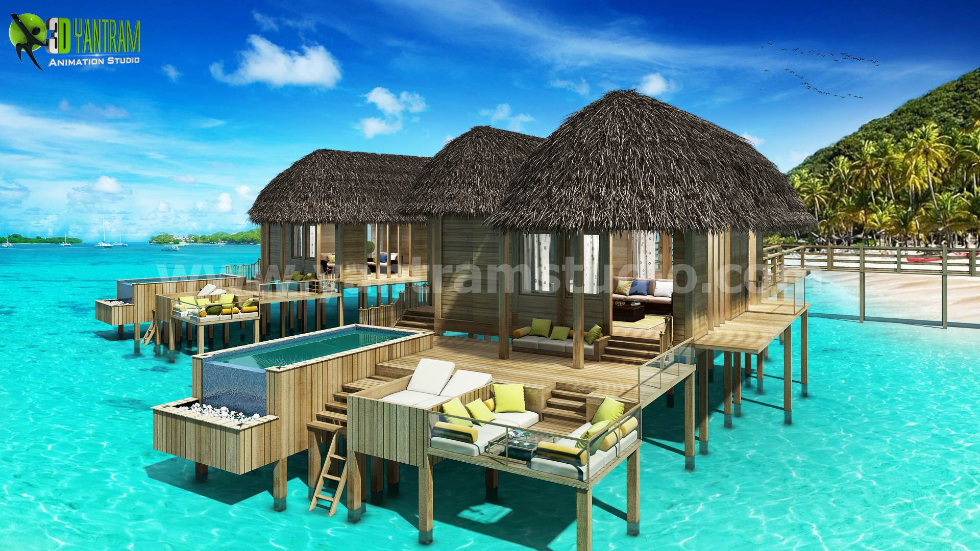 3D Conceptual Water House Design Ideas by yantram architectural rendering service Virginia - Fully conceptual Sea Cottages view rendering at beach side 3D Yantram Architectural Visualization Companies, It covers 3 cottages in perspective view with background of Designed palm trees is main beauty of the render and most important day lighting. by yantramstudio