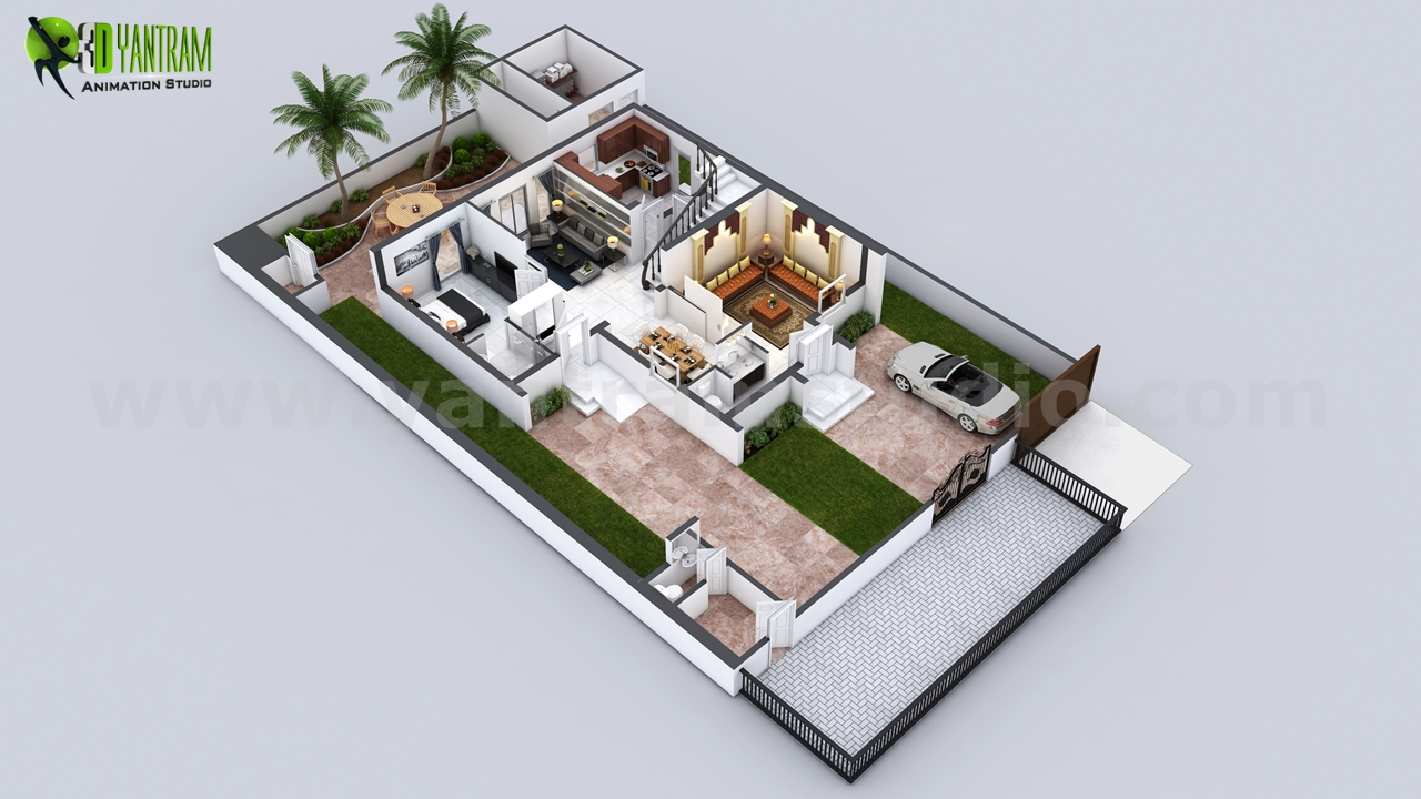 Ground Floor plan services - Every house had different plan and elevation but the way of presentation makes it understandable and unique, A floor plan with landscape and different floor layout makes it more beautiful and perfect for presentation. by yantramstudio