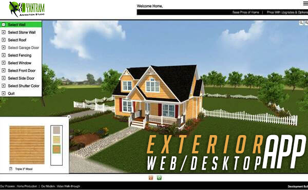 Virtual Interactive Desktop \x26 WebGL Application For Exterior Elevation - virtual reality developer by yantramstudio