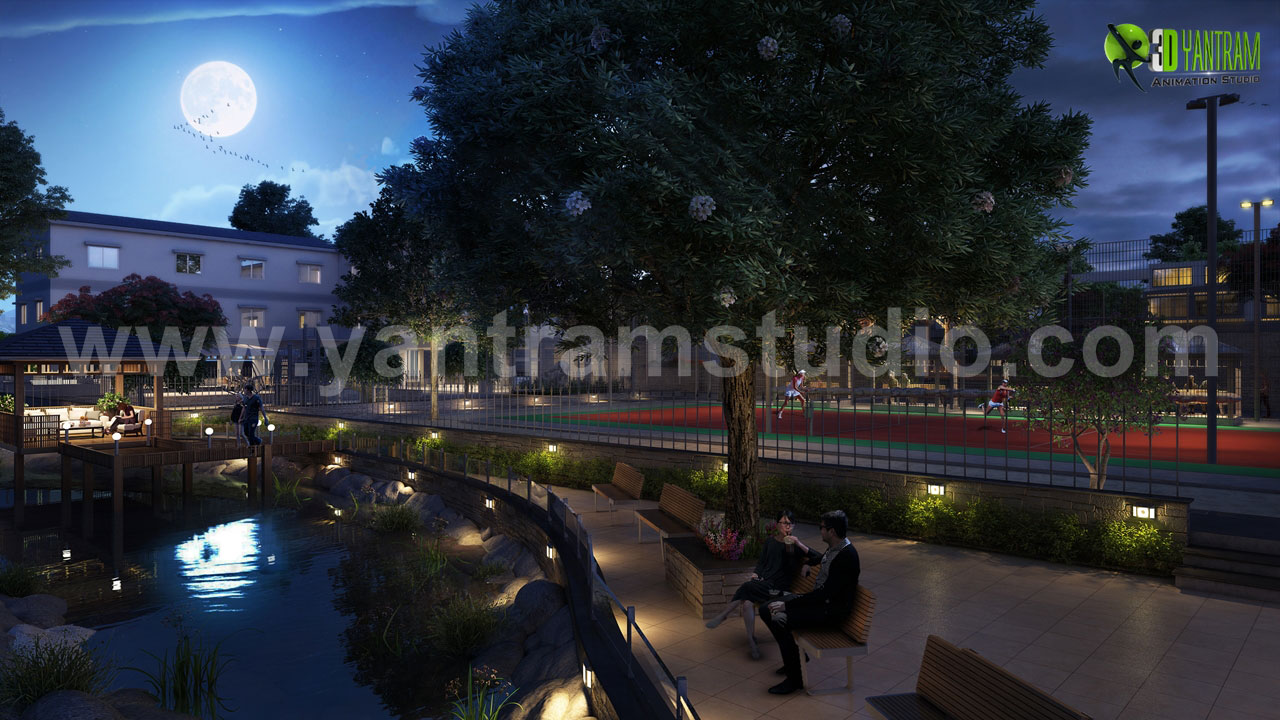 01-night-view-rendering-community-apartment-pond-design-walk-way-ideas-3d.jpg -  by yantramstudio