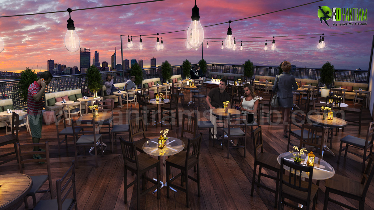 Rooftop Layout Lounge 3D Rendering Evening View Paris - when it comes to summertime enjoyment, numerous of us have memories of loved ones get-togethers. Diagram the decor much in advance keeping in mind the weather, theme, colours and current trends to ensure that it is perfect.  by yantramstudio
