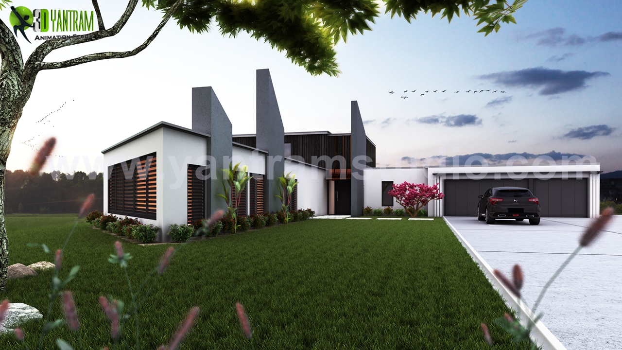 Beautiful Modern Exterior Rendering design by Yantram architectural design studio - London, UK - London 3D Modern Bungalow exterior rendering and elevation design by Yantram architectural design studio. 