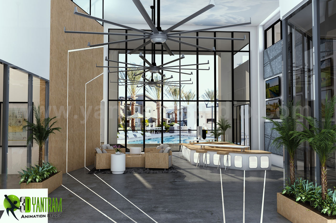 Aviator-Club-House_HD.jpg - This is the Interior Reception Lobby View with Sunrise, Dashing Entrance gate with Modern Facilities, sitting space are available for Wait, Front of Entrance gate we can see a Pool Ideas by Yantaram Architectural Visualisation Studio. by yantramstudio
