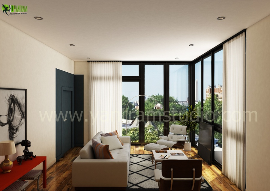 Living Room Interior Rendering. From The 3D Interior Design Service  Collection