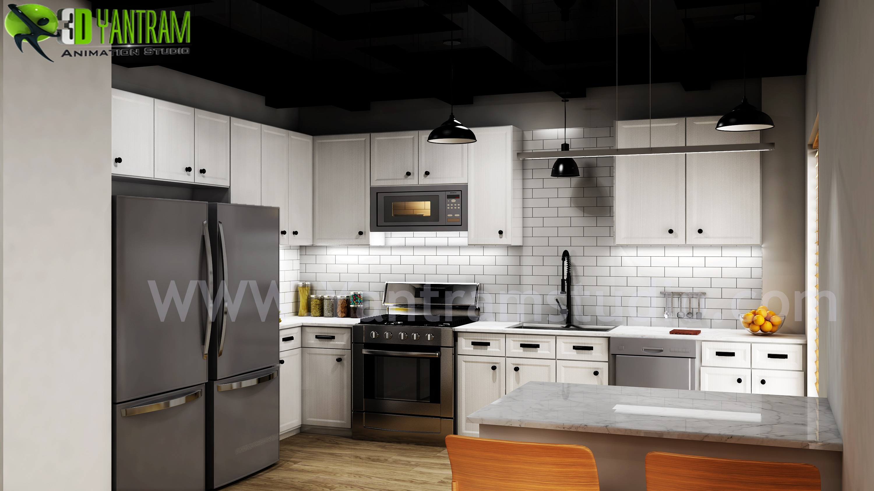 Modern Small Kitchen Design Ideas by Yantram 3d Interior Rendering Services - Berlin, Germany - Kitchen design ideas, inspiration, and decor from around the globe for your modern home.