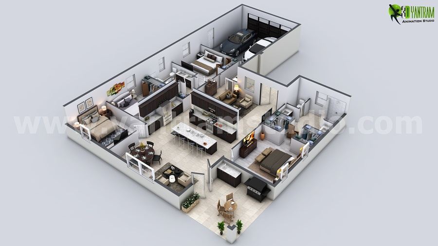 Modern House 3D Floor Plan   Modern House 3D Floor Plan, Build Your Dream  With