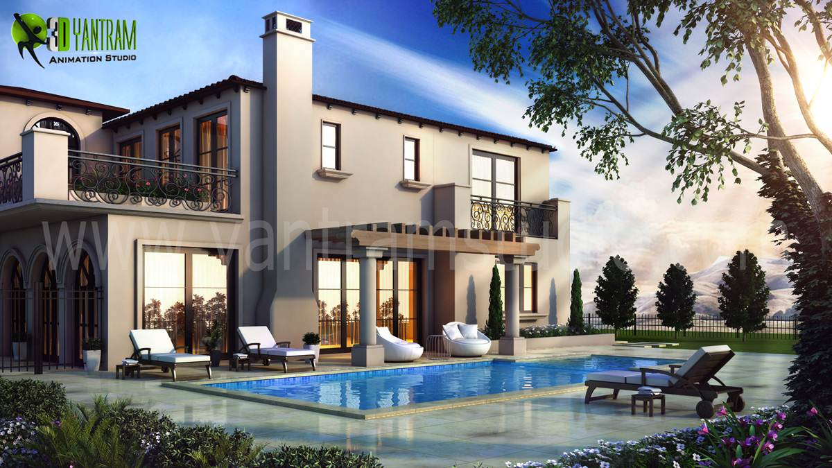 3D Exterior Modeling Pool View - We have Expert Artist in 3D Exterior Modeling Pool View, Architectural design studio, 3D Architectural Design, Architectural Visualization Studio. by yantramstudio