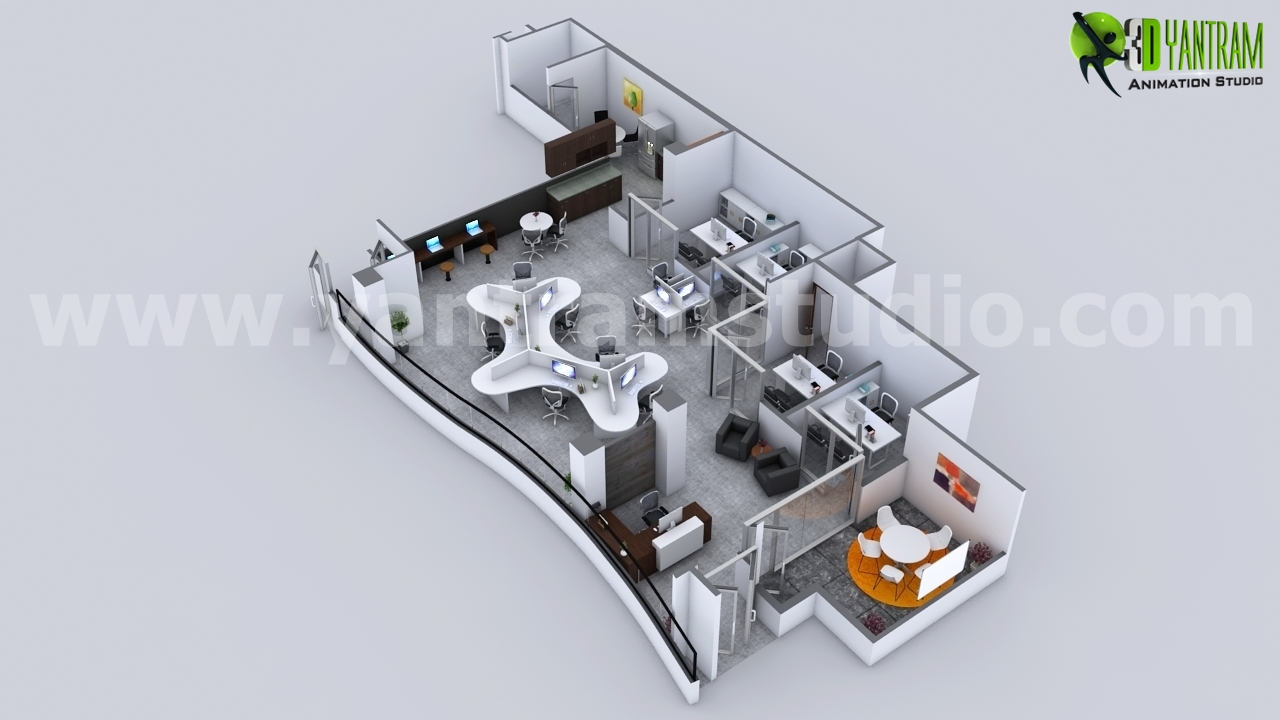 Workplace Strategies Modern Office 3d Floor Plan Rendering