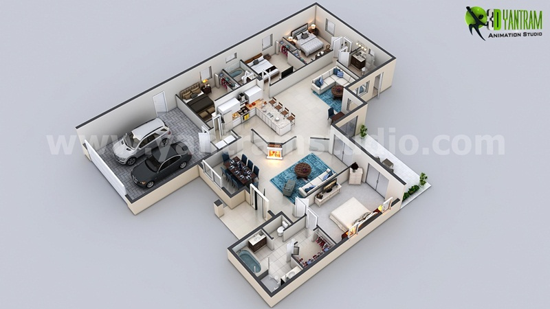 Modern 3D Floor Plan Design - Modern 3D Floor Plan Design, Our 3D Floor Plan Studio has collection of Trendy and Modern Floor Plan Ideas for your Property. We have expertise 3D Floor Plan Creator USA, 3D floor Design London, 3D Home Floor Plans Mexico, Architectural Floor  by yantramstudio