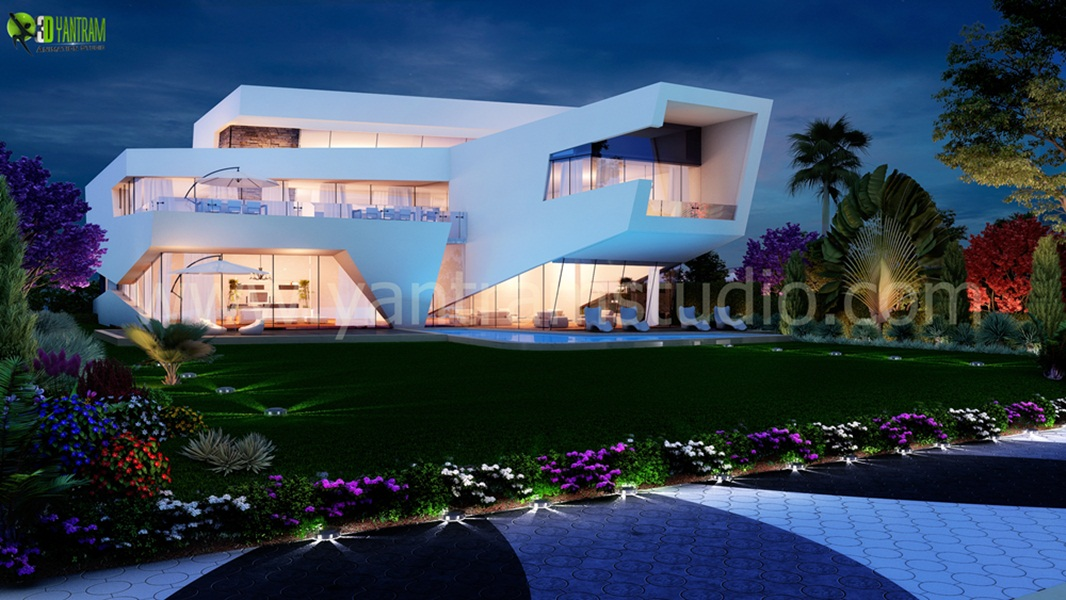 3D Modern Home Exterior Design - Ultra Modern Home Exterior Design, Our Architectural Design Studio has a very unique collection of Stylish Exterior Design ideas for your Home. We are expert in 3D Architectural design Qatar, 3d Exterior Modeling Mexico, Architectural Visualization German by yantramstudio