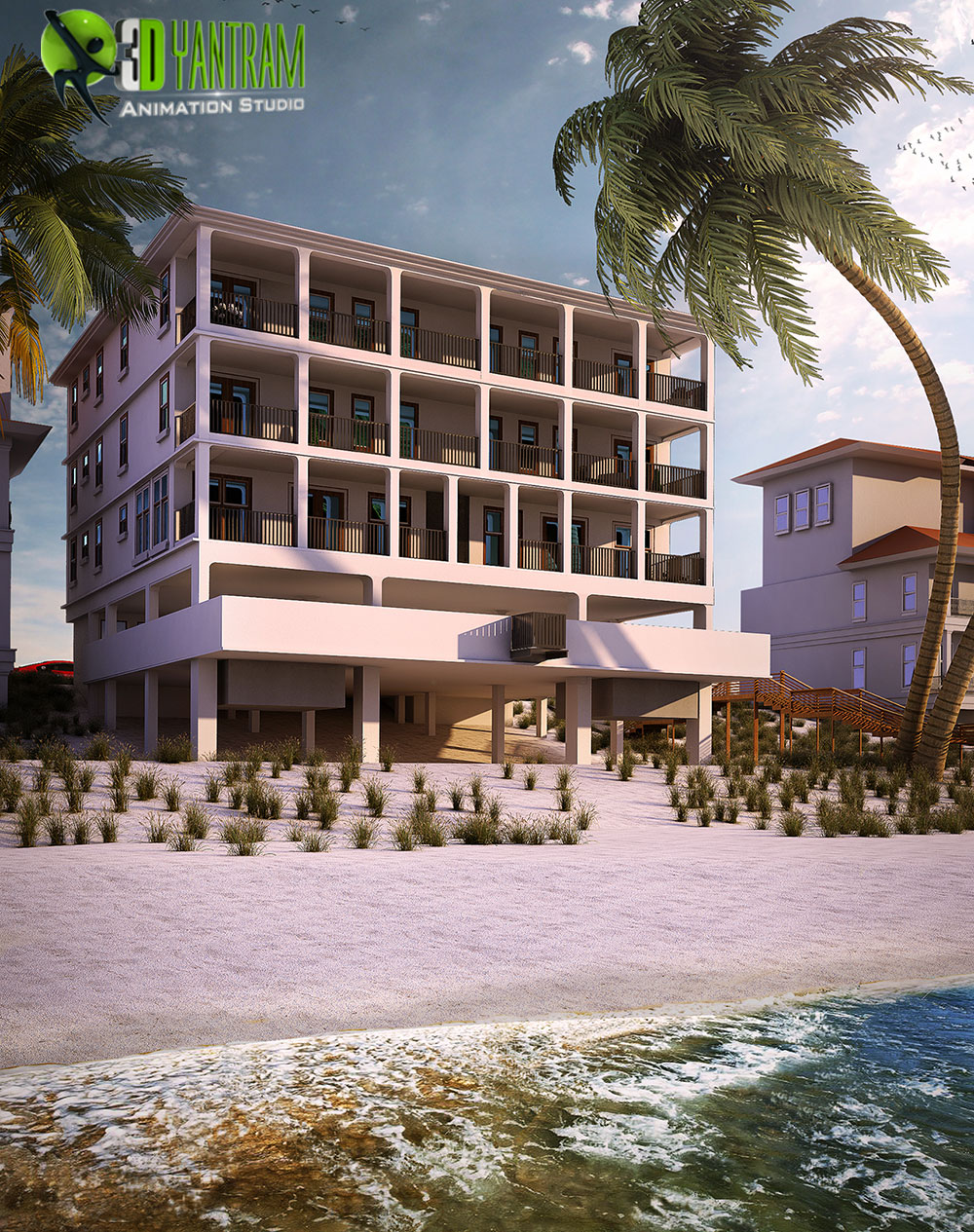 Residential 3D Exterior Beach Side Rendering Modern.jpg -  by yantramstudio