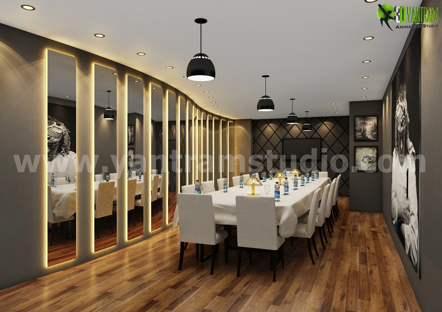Modern Dining Room Interior Design Rendering - Modern Dining Room Interior Design Rendering, We have collection of Elegant and Modern Interior design ideas. We are expert in 3D Interior Designers, 3D Interior Design, photo-realistic renderings studio. by yantramstudio