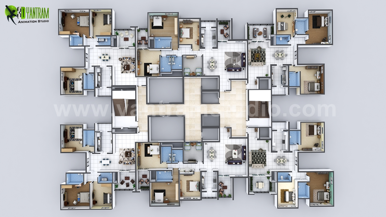modern-multi-creative-3d-floor-plan-apartment-design-by-yantram-architectural-developer-studio.jpg - Project 19: Modern Apartment Floor Plan Design