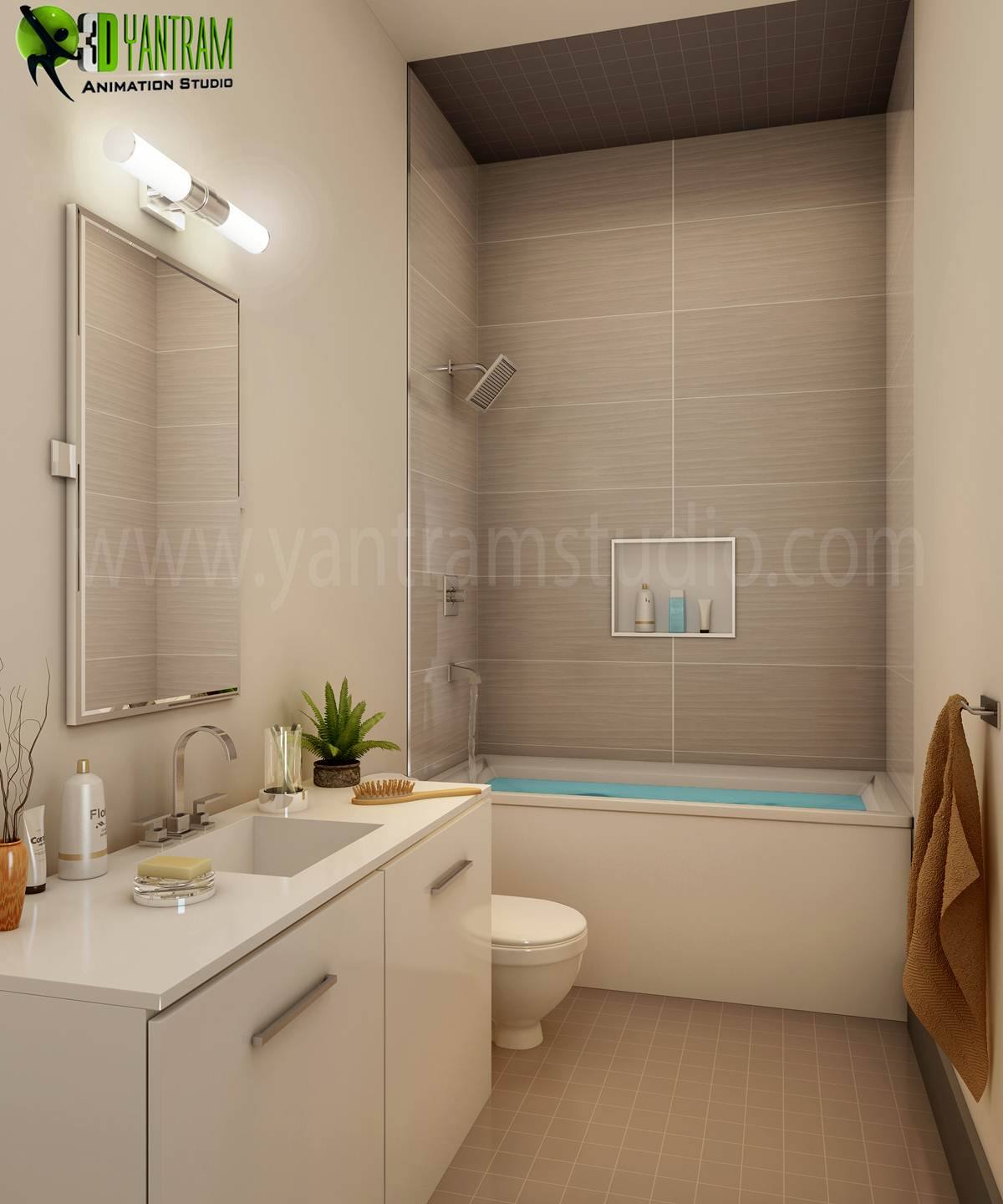 Bathroom Interior Design - Modern Common Bathroom Interior Design, Our Interior Design Studio has collection of elegant and modern interior design ideas for your property. We are expert in Architectural design studio, 3D Architectural Design, 3D Interior Design, Architectural Visua by yantramstudio
