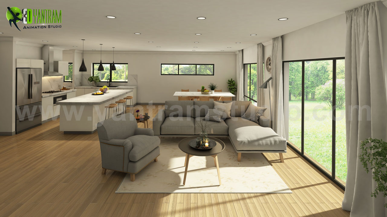 Architectural Rendering Service in Living room with Wooden Furniture.jpg - Vintage 3D Exterior - Interior Modeling, Living room in Open Sunlight view with Wooden Furniture, Latest Trend kitchen with Attractive Lamps & Wooden Furniture, Latest Design bathroom with Black Marble, Vintage 3D Exterior Modeling and architecture with M by yantramstudio