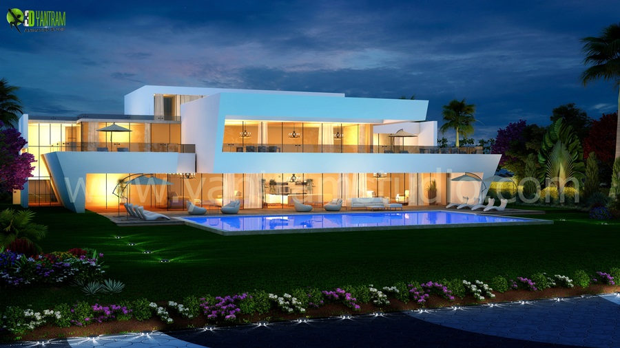 3d Exterior Night View Pool Design Exterior Rendering Cgi Design