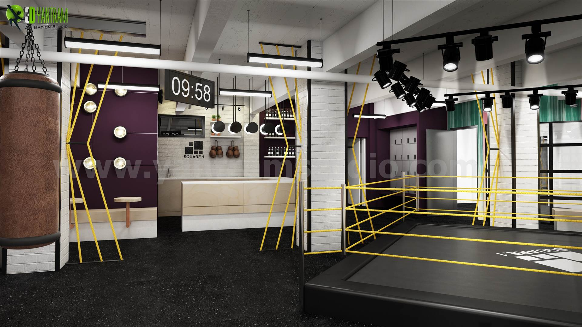 3D Interior GYM Rendering Design Boston   Interior Design Firms By  Yantramstudio