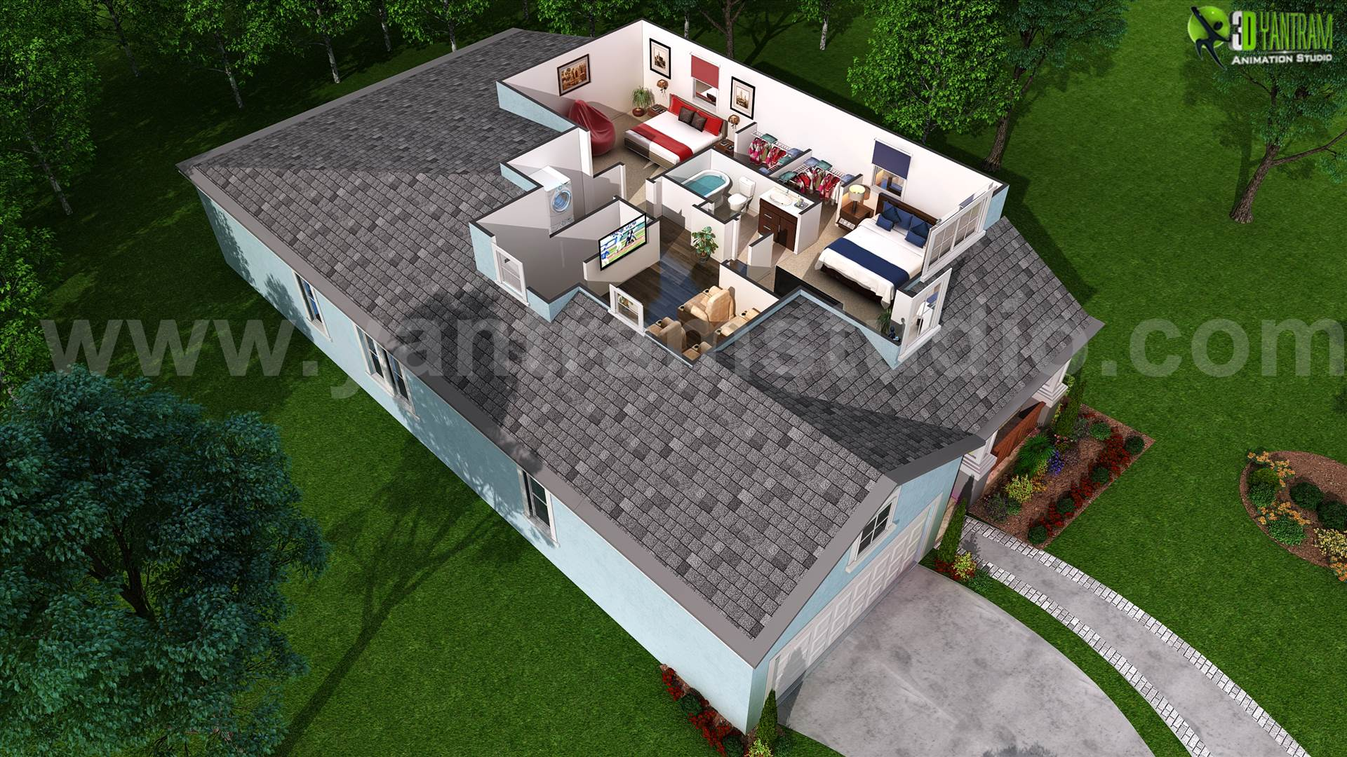 3D Floor Plan for Second Floor Plan - online 3d floor plan by yantramstudio