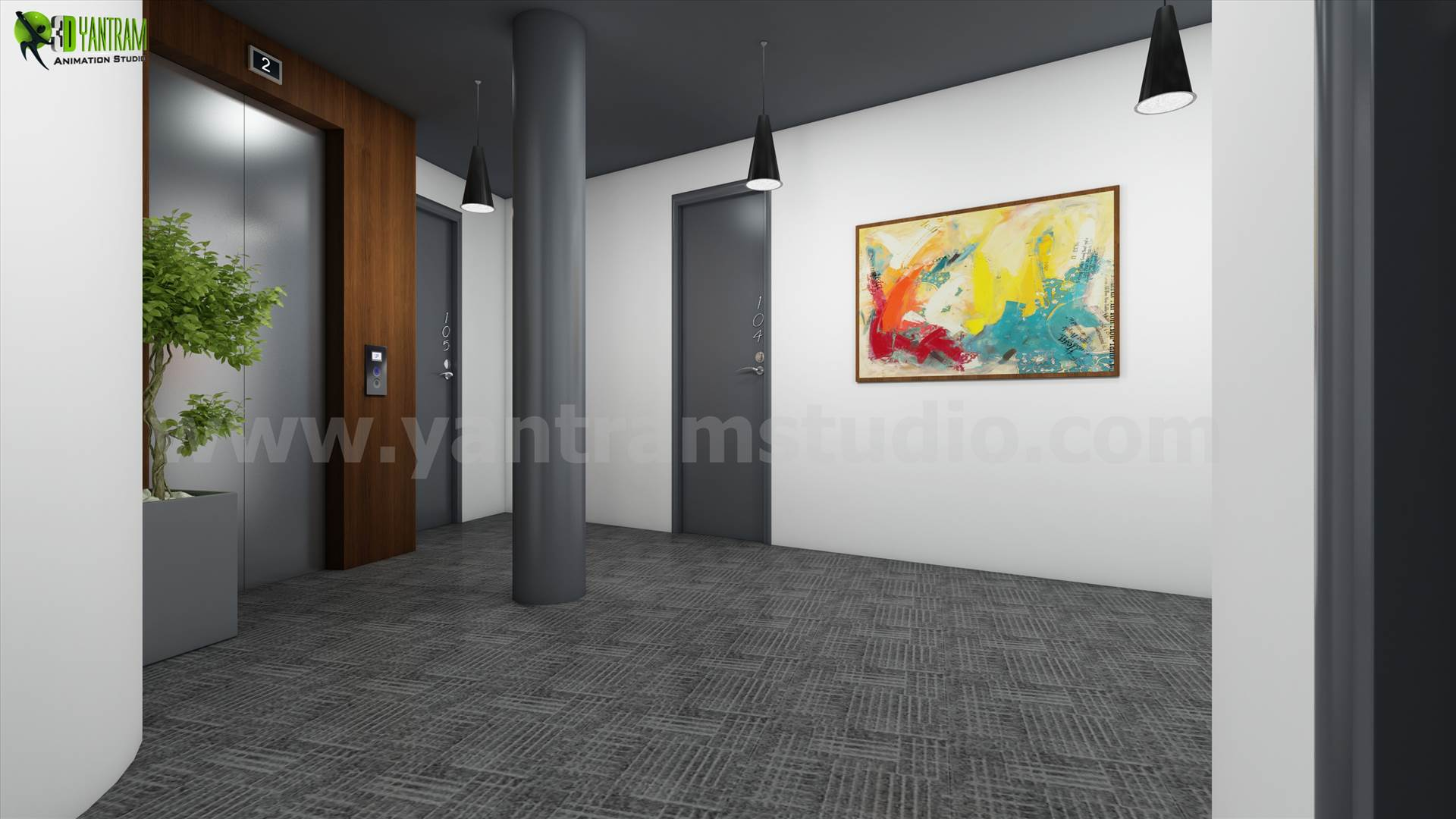 3D Interior Lobby Rendering Concept Idea - architectural visualization company by yantramstudio