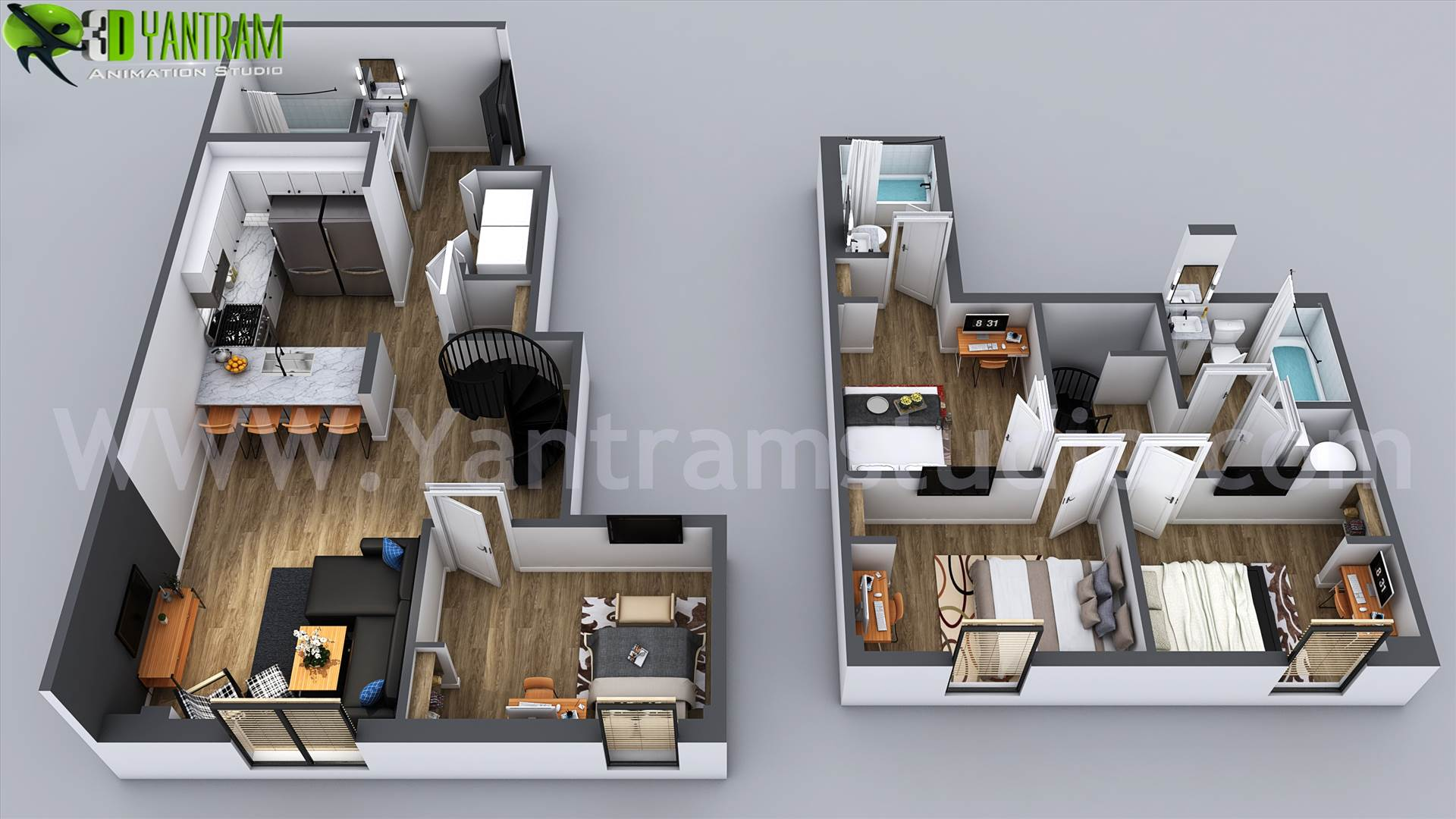 3D Home Floor Plan Designs By Yantram floor plan designer - Washington, USA - Floor plans are usually drawn to show exact property area and room types. some are come along with appliances and furniture for the better idea about placement and space utilization.