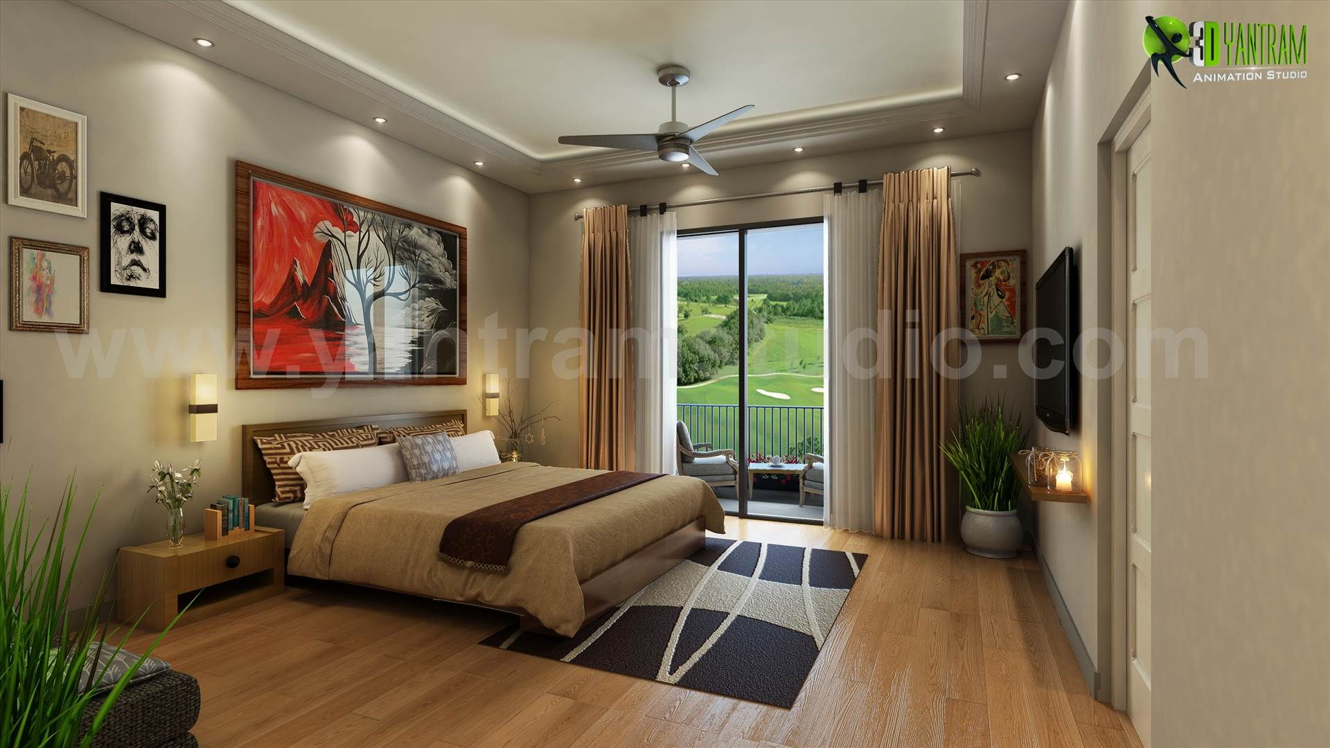A Best Bedroom View with Gold Back Ground View  - architectural design home plans  by yantramstudio