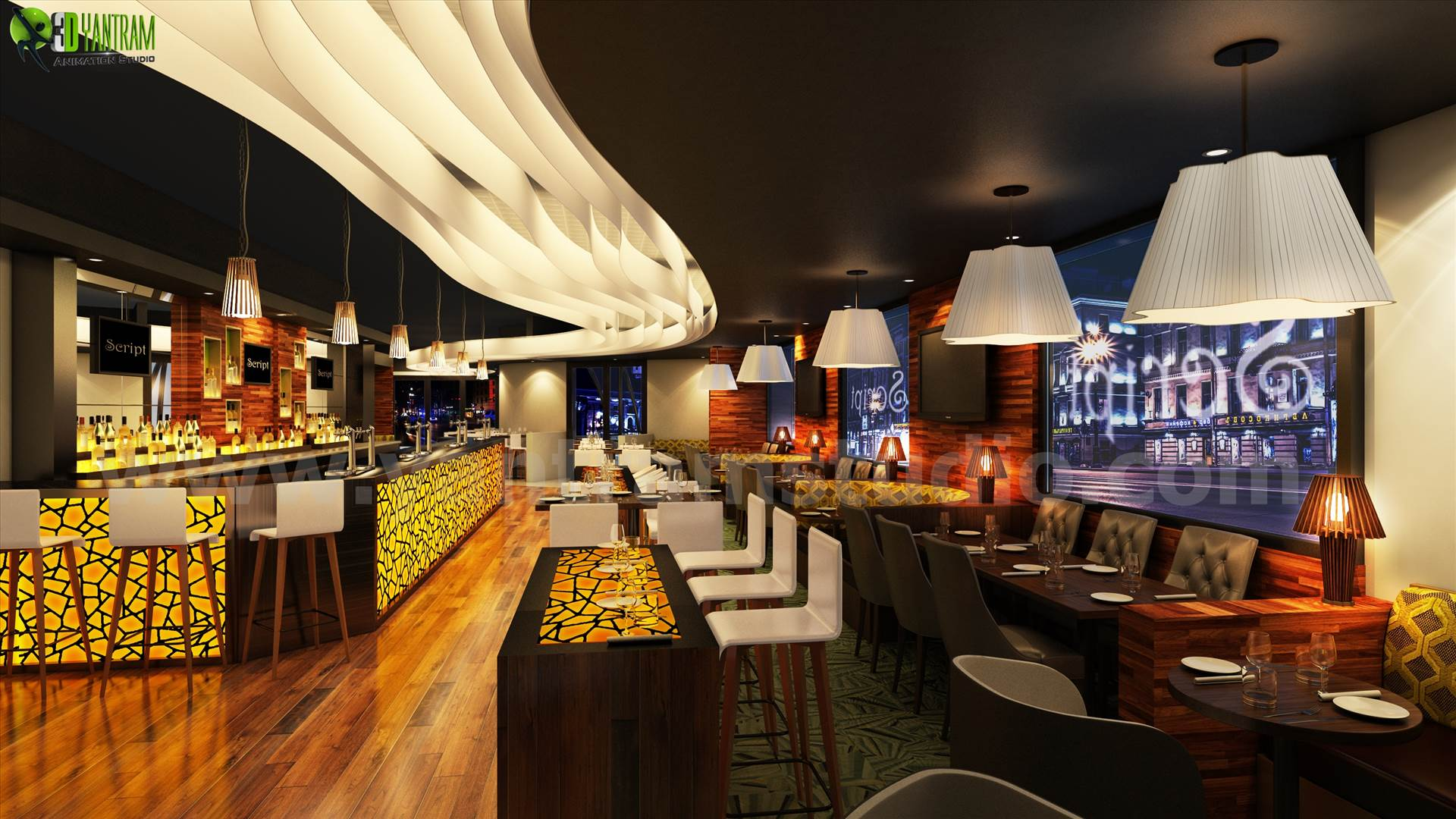 Bar 3D Interior Night View Rendering Design Liverpool - 3d interior modeling by yantramstudio