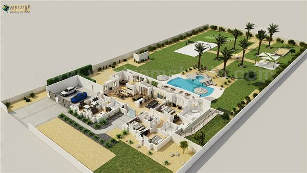 Luxurious 3D Virtual Floor Plan Design - Project 1154: 3D  Virtual Floor Plan Design with landscape pool view 
