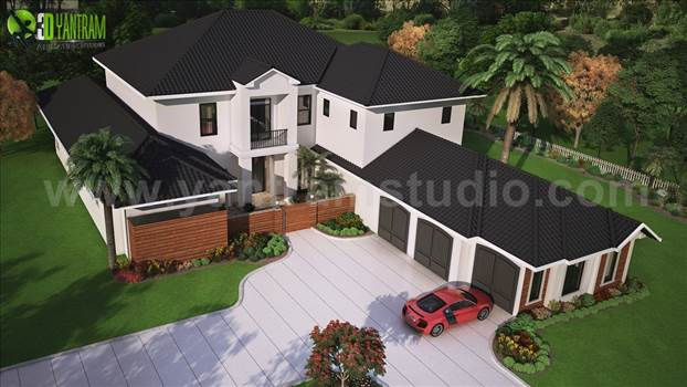 Modern 3D Exterior Rendering  with brown Roof - Project 172:- 3D Exterior Roof House Ideas