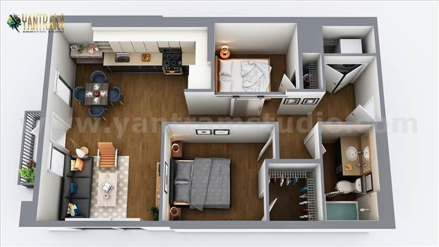 Two-Bedroom Residential 3D Floor Plan design, USA - A small residential house 3d floor plan design by architecture design studio.there is a walkway and spacious place to design by yantram studio. 3D Floor Plan Design is the best way to visualize your entire area of your house or apartment, this will give y