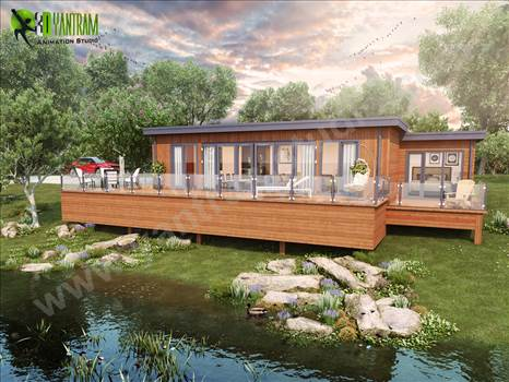 Lodge Exterior Rendering with Natural Landscape & Pond - Creative ideas by Architectural Visualization Companies. visualization company, rendering service, 3d rendering, firms, visualization, photorealistic, designers, cgi architecture, 3d exterior house