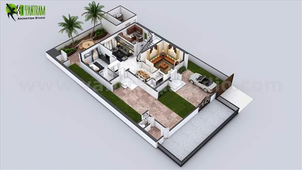 Every house had different plan and elevation but the way of presentation makes it understandable and unique, A floor plan with landscape and different floor layout makes it more beautiful and perfect for presentation.