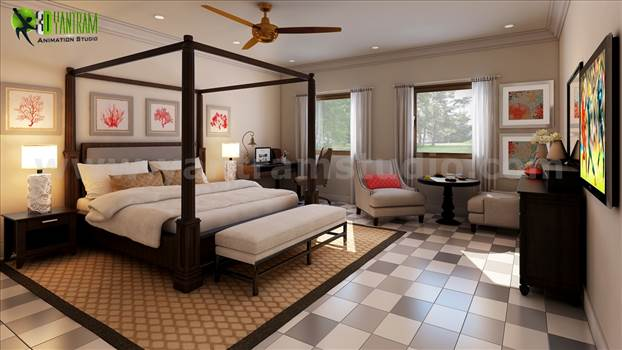 Modern Bedroom design ideas with unique furniture & checkered tiles. Natural lighting and furniture makes room perfect with paintings on wall. interior,bed, sofa, room, bedroom, modern, lighting, checkered tiles, tv, console table, carpet, window.
