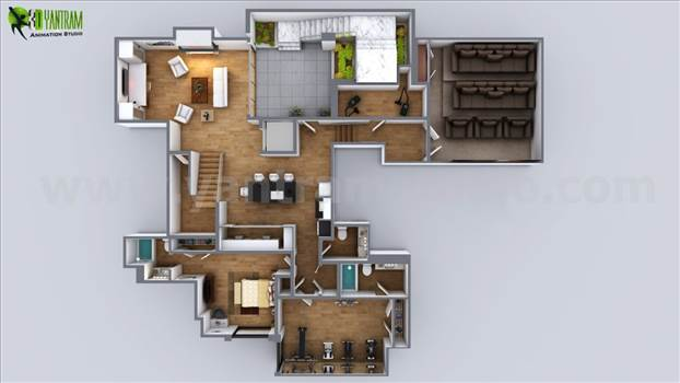 3D Floor plan of Modern House Kirklees - Australia - Collection of modern ideas for Residential Floor plan and Exterior House renderings, See at all areas of floor plan and exterior, how detailed they are! From this you can get ideas to decorate your interior and exterior of your home in better way.