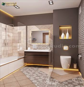 Contemporary Bathroom Decor Style interior design - Yantram Studio provides you with ideas to decorate your Contemporary  Bathroom which makes you feel cool. Yantram Interior design Studio provides you ideas to decorate you classic bathroom with the specialty of modeling of Golden accessories, tile floors,