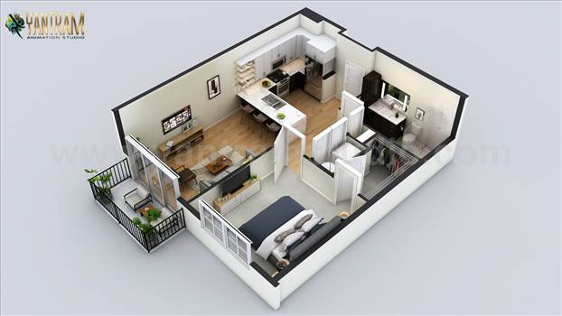 Residential House 3D Floor Plan Rendering Services - Project 501:- Small Residential Apartment 3D Floor Plan Design Ideas