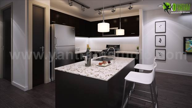 Example of Interior Living Room and Kitchen Design - Yantram Architectural Design Studio offer with Experience in interior design , interior design firms , 3d interior designers , architectural design home plans , interior design for home , architectural interior rendering , photorealistic 3d rendering.