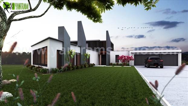 London 3D Modern Bungalow exterior rendering and elevation design by Yantram architectural design studio. 