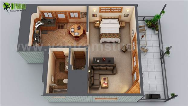 Small House Floor Plan Design - Small House Floor Plan Design Ideas with Bedroom & Modern Hall with Wooden Furniture Blueprint by Yantram Floor Plan Designer. Unique Ideas for Small Wooden House Where each thing is Specifically Designed and Placed keeping in mind Space of House.