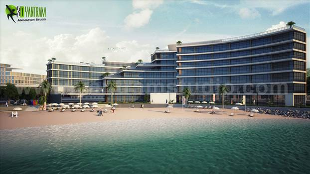 Project 142: Modern 3D Exterior Beach Side Hotel View Design