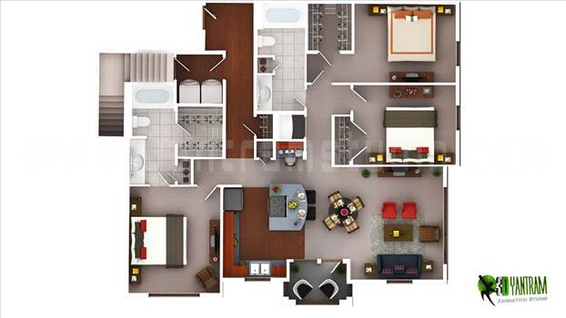 Build your Dream with 3D Floor Plan Rendering Service, 3BHK 3D Floor Plan Design, 3d architectural floor plans, 3d house floor plans, 3D floor design, 3d home floor plans, 3d floor plan modeling.