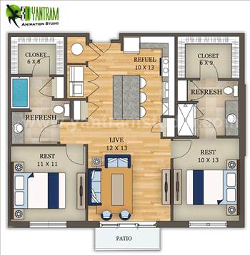 2D Home Section Floor Plan Design, Vegas - USA - Project 150: Home Floor Plan Design 