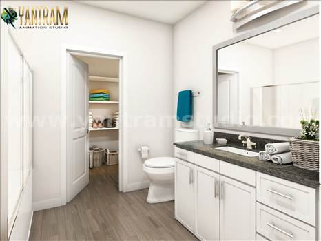 Latest Elegance Bathroom Architectural Design Home - Project 1005: - Latest Elegance Bathroom Architectural 3D Interior Modeling