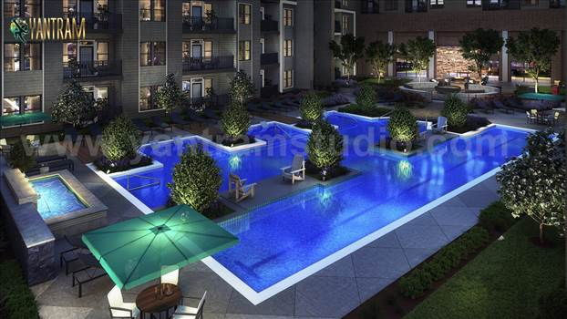 Gorgeous Courtyard Landscape Pool View Design Idea - Project 758:- Exterior Courtyard Landscape Pool View Design ideas