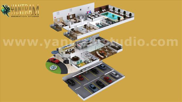Contemporary Hotel style Floor Plan design Ideas - Project 754:- Hotel Style 3D Interior Floor Plan Design Concept