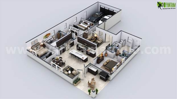 Modern House 3D Floor Plan, Build your Dream with 3D Floor Plan Rendering Service, 3BHK 3D Floor Plan Design, 3d architectural floor plans, 3d house floor plans, 3D floor design, 3d home floor plans, 3d floor plan modeling.