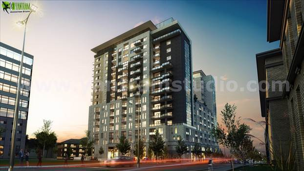 Dusk View Of Modern High Rise Building Exterior - Dusk View Of A Super Modern High Rise Building Exterior Design, Luxury High-Rise Exterior Design 3D Architectural Visualization With Beautiful Dusk Visualization, Road Side Amazing High Rise Building With Beautiful Lighting By Yantram Architectural Design