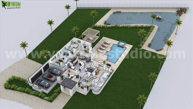 Design a 3D House with creative Ideas Vegas,USA - 3D Floor plan with surrounding area of grass and pond to present your house more attractively. Modern furniture with perfect color combination makes house more beautiful.