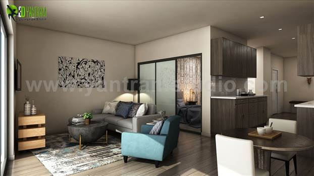 Apartment with 3D Interior Modeling - Latest Apartment with 3D Interior Modeling, Luxuries Combo of Living room and kitchen with Wooden Floor & Furniture  Ideas by Yantram Residential Interior Design Studio, Miami - USA