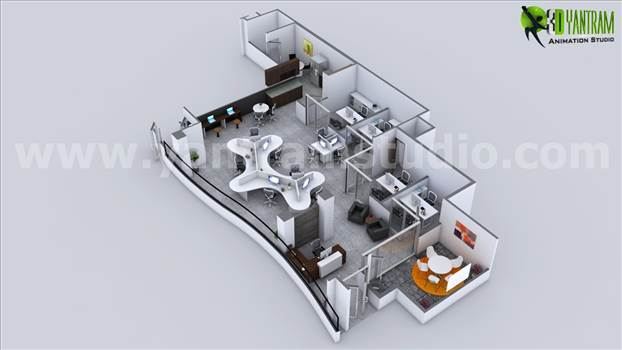 Modern Office 3D Floor Plan Rendering New advancements in technology, Yantram Architectural Design Studio Has High Quality Collection For Floor Plan Designer Singapore, Residential Floor Plan Rendering.http://www.yantramstudio.com/3d-floor-plan.html