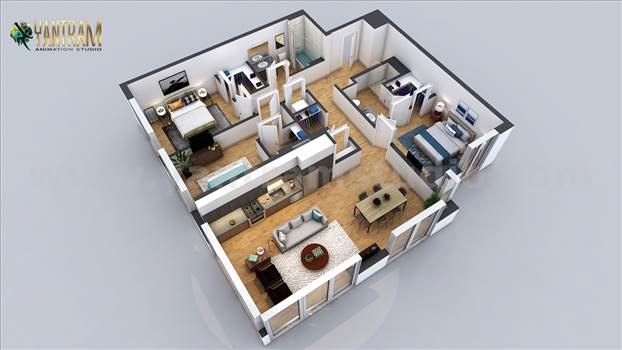 Residential 3D Floor Plan with 2 Bedroom Apartment - Get this modern layout of Residential Virtual Floor Plan with 2 bedroom house comes with complete floor plans and roofing area. The design is ideal for those looking for a small family house on budget. It comes with 2 bedrooms, a sitting room, bathroom de